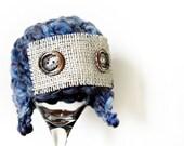 SALE Newborn Aviator Hat - Newborn Photo Prop - Crochet Baby Boy Vintage Bonnet - Earflaps Hat - Photo Props -  Burlap Blue - On Sale
