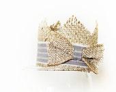 SALE Newborn Crown Photo Prop - Mini Burlap Crown - Baby Boy Props - Grey Strip - Rustic & Regal Collection