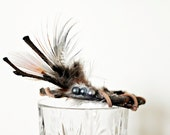 Reserved Listing - Newborn Crown - Newborn Photo Prop - Mini Twig Crown - Baby Girl Props - Brown, Feathers, Teal - Nature, Natural