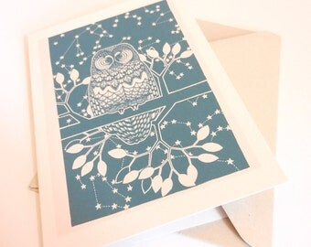 "greetings card - ""the contemplative owl"""