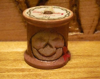 Hand Carved Snowman /  Vintage Wood Thread Spool / OOAK by Stoney Creek Wood Carvers/ Blue Ridge Mountains,Primitive Hand Whittled /