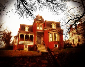 """Gothic Victorian Architecture / Art Photography / Red House / Lynchburg, Va./ Colorful Print 8.5"""" x 11"""""""