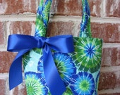 Bright Blue, Aqua and Lime Green Tie-Dye Purse
