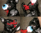 weird DOG TOYS plush squeaker toy EYEBALL blue red white black puppy teething tug