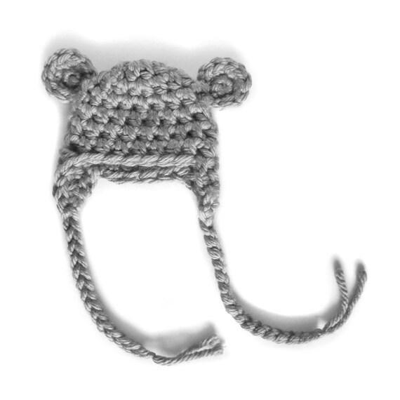 BABY ANIMAL HAT bear koala boy beanies crochet newborn gray grey silver vegan photography props photo prop photographers