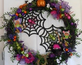 Halloween Pink & Green Bright Colored Halloween Spider Web Wreath Annalee Mouse/Witch Dolls