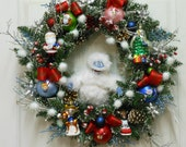 SALE - Christmas Wreath Rudolph Reindeer Abominable Snowmonster Herbie Dentist Elf