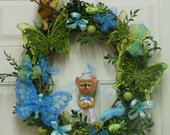 SPRING BUTTERFLY WREATH Annalee Robin Hood and Maid Marion Blue Green