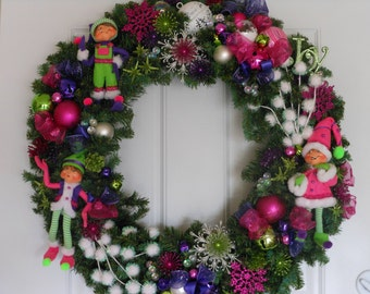 Christmas Wreath Purple & Pink BRIGHTLY Colored Sparkle ANNALEE Elves XL