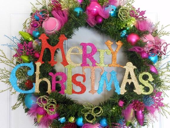 Christmas Wreath  Glitter Sparkle Bright Colored Wreath