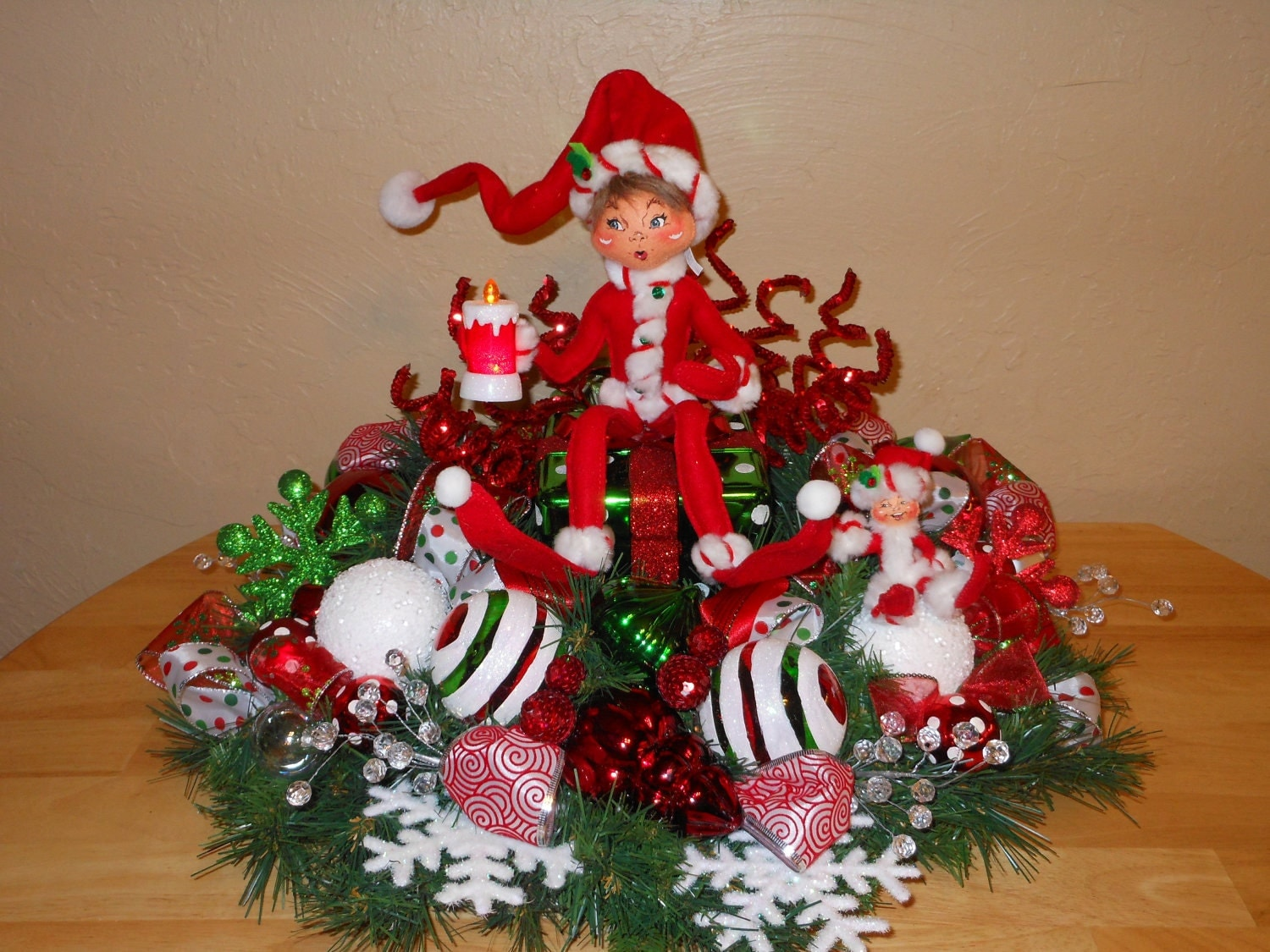 Sale christmas centerpiece table decoration annalee elf gift Christmas table top decorations