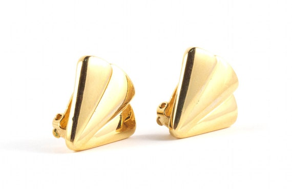 80s GIVENCHY Gold Fan Earrings Vintage Clip On