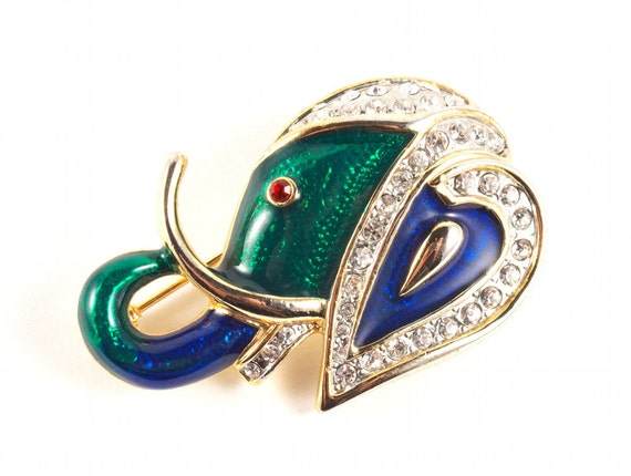 Vintage 80s Elephant Pin Brooch Abstract Avant Garde Gold Green and Blue with Red Eyes of Rhinestones