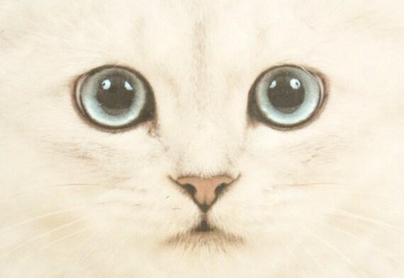 Super Cute Cat Tile / Hipster Kitsch Home Decor Vintage White