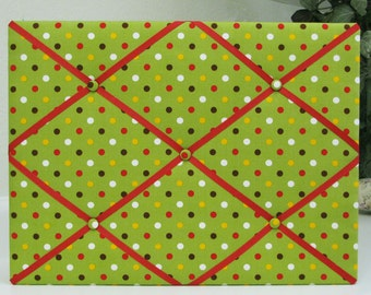 "Bright Green with Polka Dots Fabric-Covered Memo Board - 15"" x 20"""