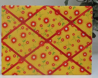 Cute Mini Refrigerator Retro Red Flowers on Yellow  Fabric-Covered Memo Board