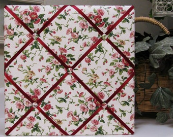 "Waverly Pink and Cranberry Floral Fabric Covered Memo Board - 14"" x 14"""