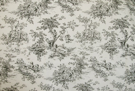 Central Park Black And Ivory Toile P Kaufmann Decorator Fabric