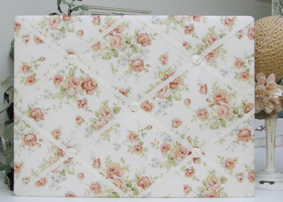 "Shabby Cottage Chic Floral Fabric Covered Memo Board - 15"" x 20"""