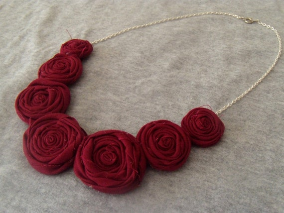 Rosette Statement Necklace in Cranberry cotton