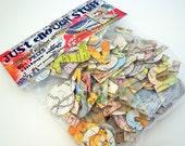 unique vintage map chipboard alphabet set 120 pieces