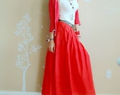 S-1, Red long skirt, High Quality Silk and Cotton Fabric, 3 Colors-(green,orange,red)