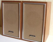 Two 2 Wooden Stereo Speakers from Realistic in Faux Bois Wood - Treasury Item