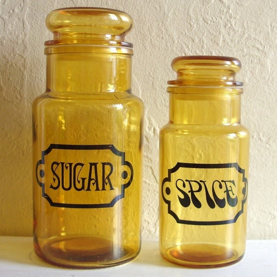 Set of Clear Amber Glass Jars Marked Sugar and Spice with Lids Black Print