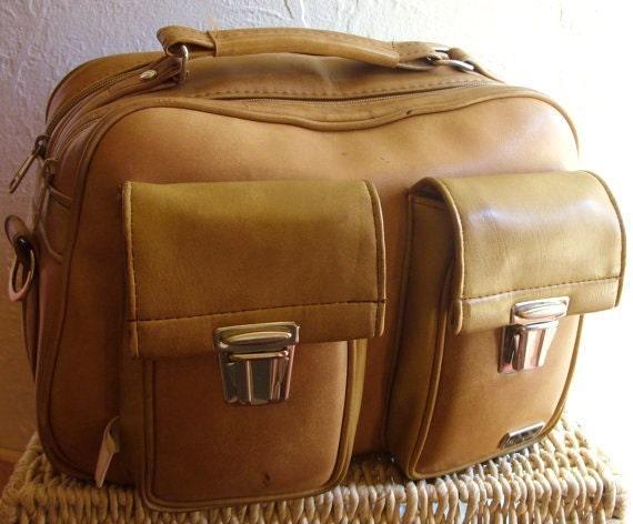RESERVED - Vintage Beige Brown Travel Carry On Bag with Shoulder Strap Marsand