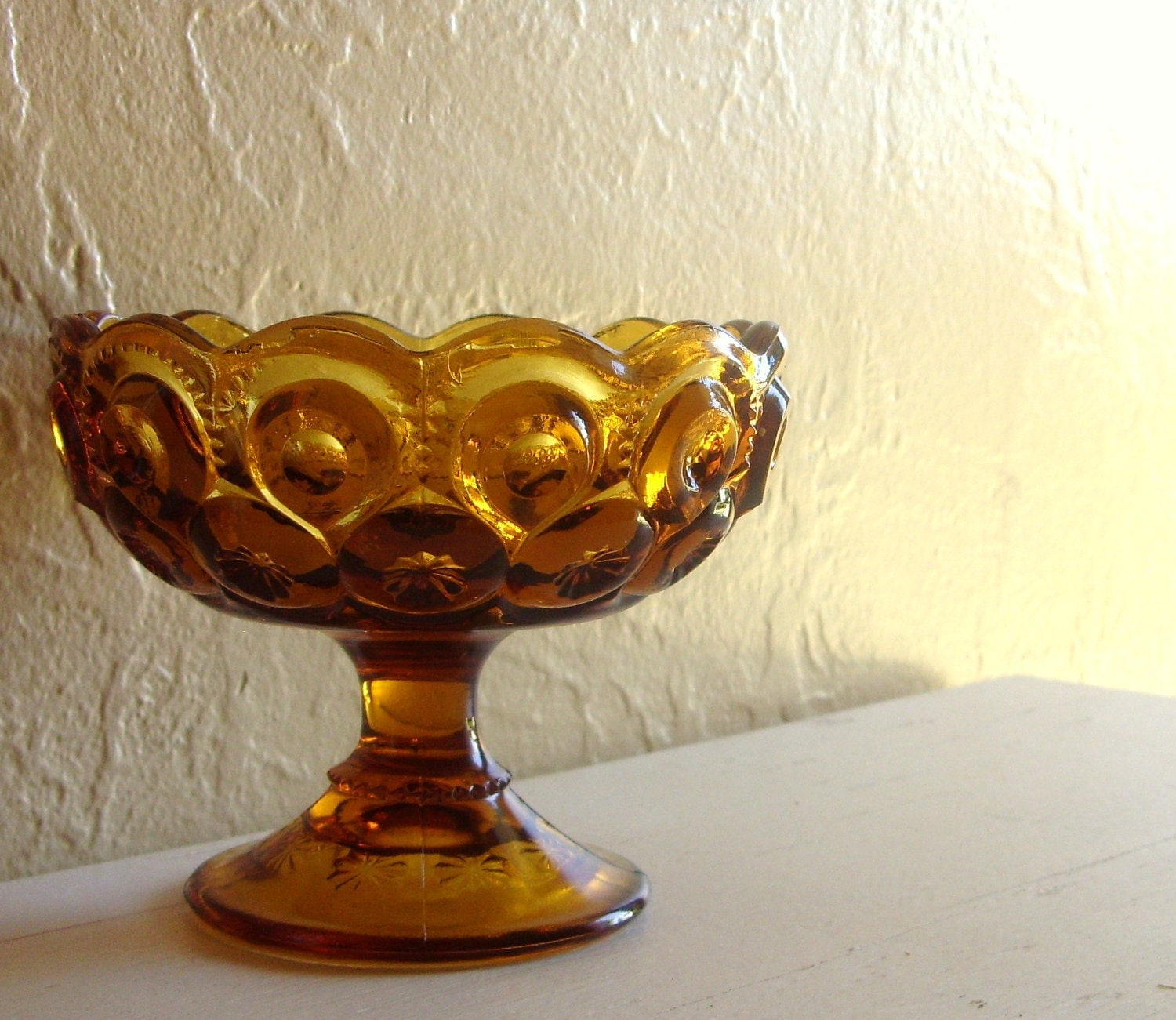Vintage Amber Glass Pedestal Bowl With Scalloped Edges