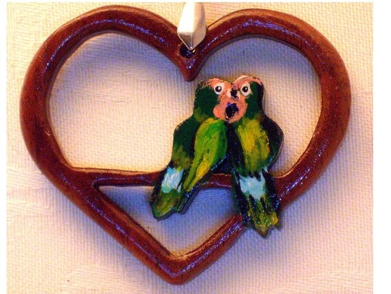 wood heart with lovebirds pendant