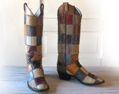 Women's LARRY MAHAN All Leather Exotic Patchwork Cowboy Boots size 6 B