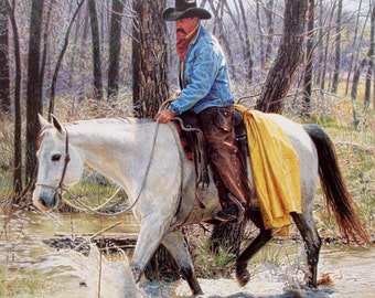Spring In God's Country /  Limited Edition Art Print / Cowboy Riding Horse Through Creek