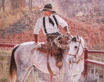 GATE DUTY Limited Edition Art Print  / Cowboy on Ranch Horse Holding Cattle