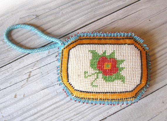 Native American Style Hand Beaded Clutch / Coin Purse in Red, White, Green, Blue, Orange & Black