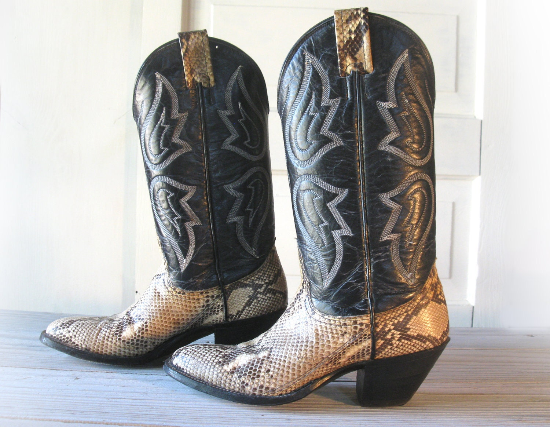 Women S Nocona Black Amp Snake Skin Cowboy Boots All