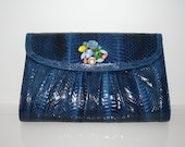 Reserved Listing for Pia-Blue Clutch Purse with Vintage Broach
