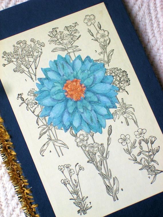 Gardener's Diary - handmade journal for Gardening - Garden scrapbook - planting notes - blue floral journal - pressed flowers keepsake