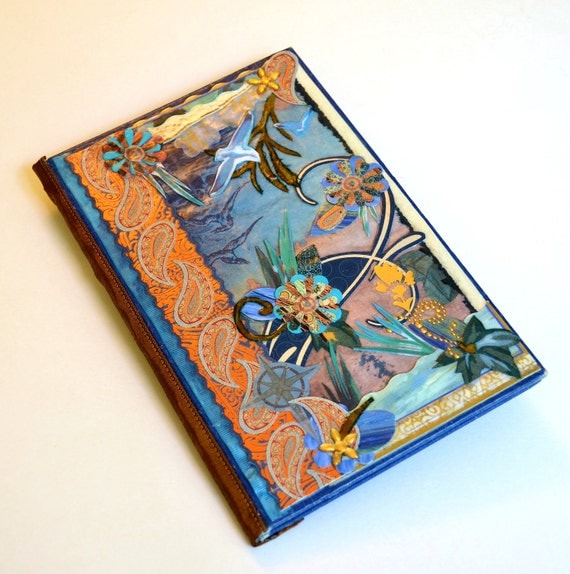 travel journal - Memories of Our Beach Vacation- diary, beach house guest book, creative writer, bookish, bookworm, sapphire and bronze