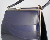 1960's Navy Handbag - Vintage Waves Naturalizer Handbag