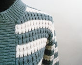 1960's Sage Green/Blue and Cream Striped Cardigan Sweater