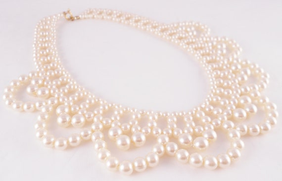 Collar Necklace Vintage Faux Pearl Beads