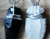 wire-wrapped obsidian or jasper real arrowhead pendant - pick your poison - black and white.