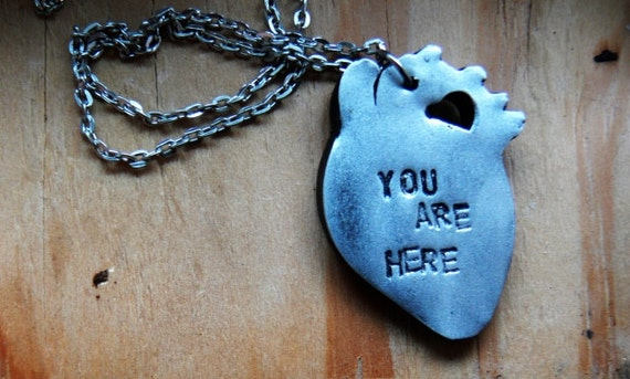 polymer clay 'YOU ARE HERE' anatomical heart necklace - silver, gold, red, blue toned - hand stamped.