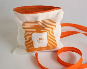 Screen printed POUCH, cosmetics bag with apple printed in orange