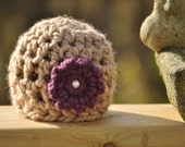 Chunky Newborn Beanie with Flower and Bead
