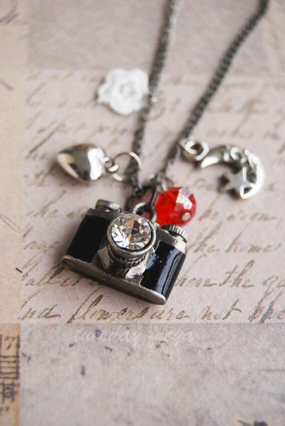 Moonlit love - Tiny camera locket necklace