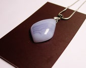 Genuine Blue lace agate gemstone  pendant chain included