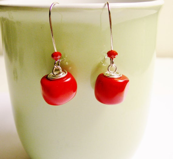 Dangle genuine Red coral earring with red crystal