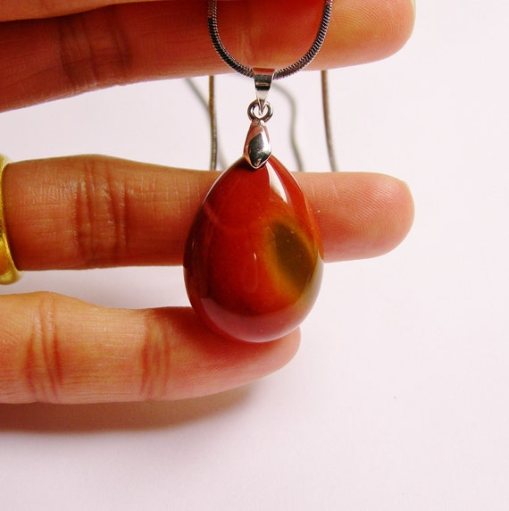 Classic Genuine Red Jasper gemstone pendant chain included